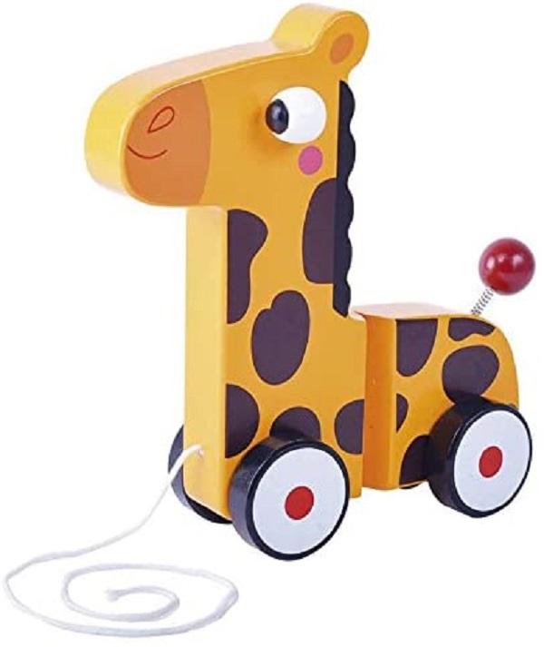 Jirafa de madera con ruedas