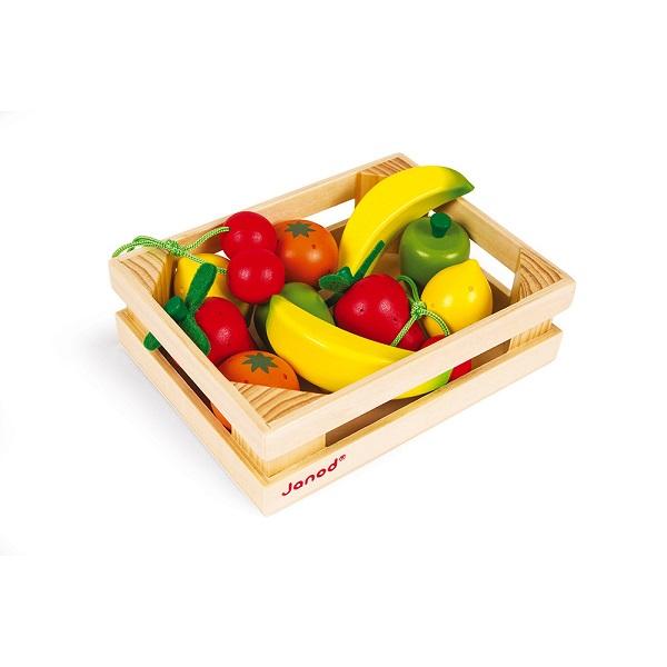 Caja 12 frutas de madera