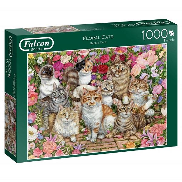 Puzzle gatos y flores 1000