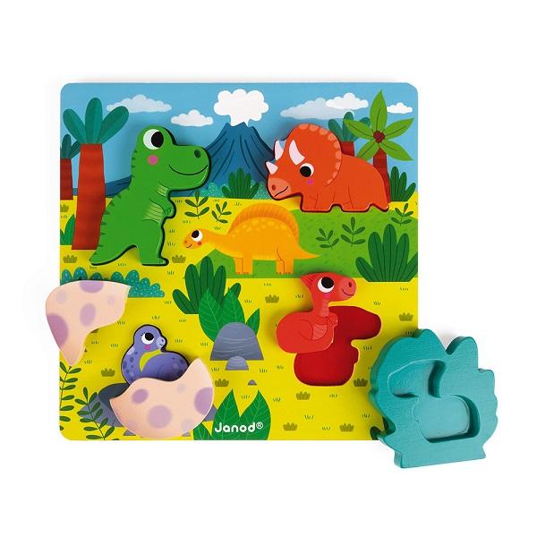 Puzzle encajable de madera dinosaurios